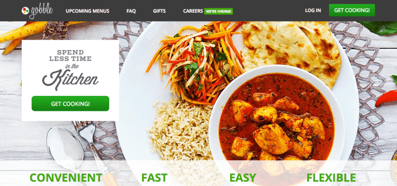 Gobble Website Screenshot showing a curry with rice, naan bread and a salad.