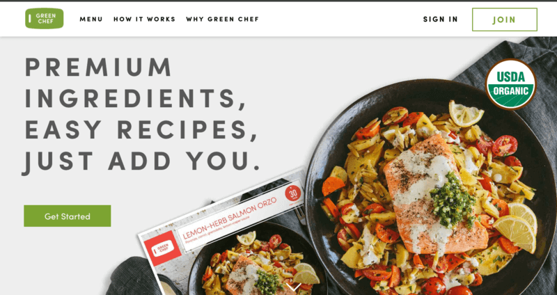 Green Chef website screenshot showing Lemon-Herb Salmon Orzo in a skillet