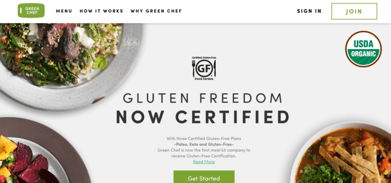 green chef meals website screenshot showing three bowls of food, including meat, veggies, soup and fruit.
