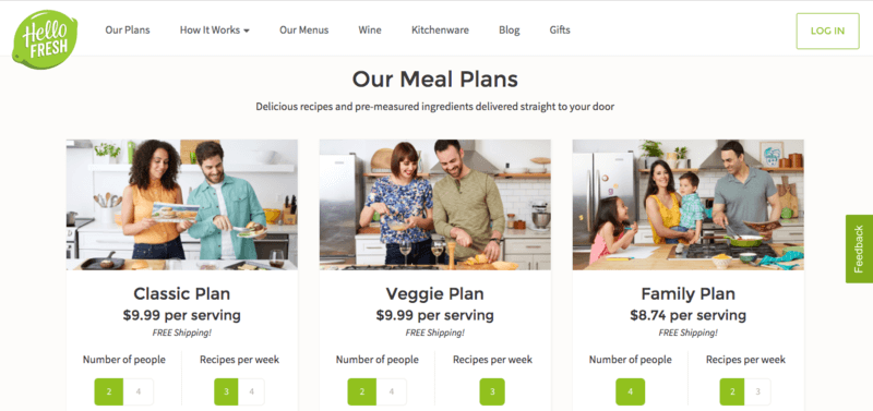 Hello Fresh Website Screenshot showing the three plans with people in the kitchen cooking