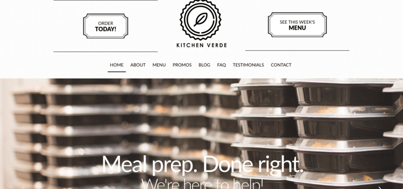 Kitchen Verde website screenshot showing stacks of containers with the words 'Meal Prep Done Right'