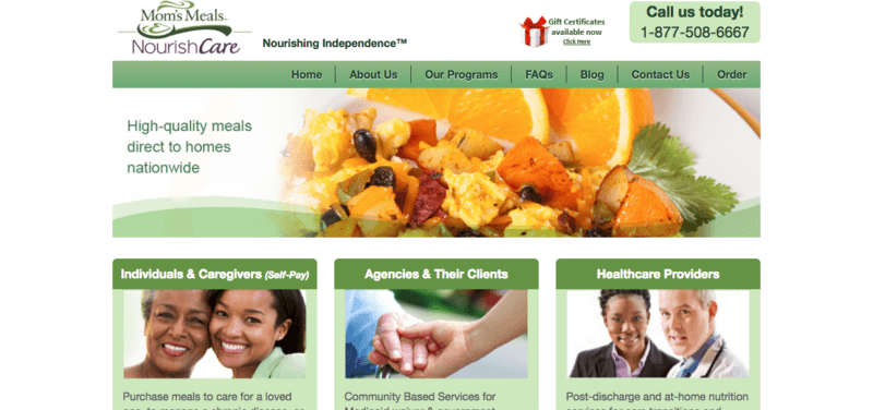 Mom's Meals website screenshot showing an egg-based dish with oranges, as well as information about individuals, caregivers, agencies and healthcare providers