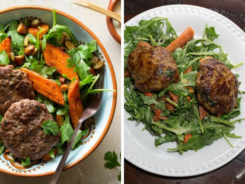 Moroccan lamb merguez patties with warm carrot salad Comparison original vs home cooked