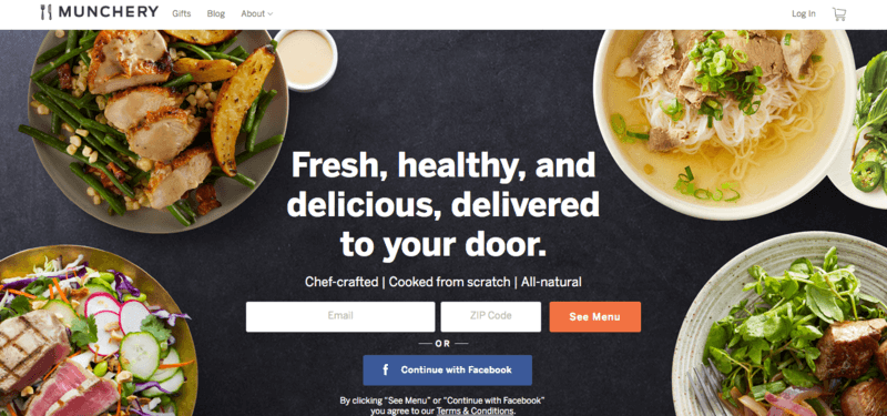 munchery meals website screenshot showing bowls of food, including multiple salads with meat, and soup