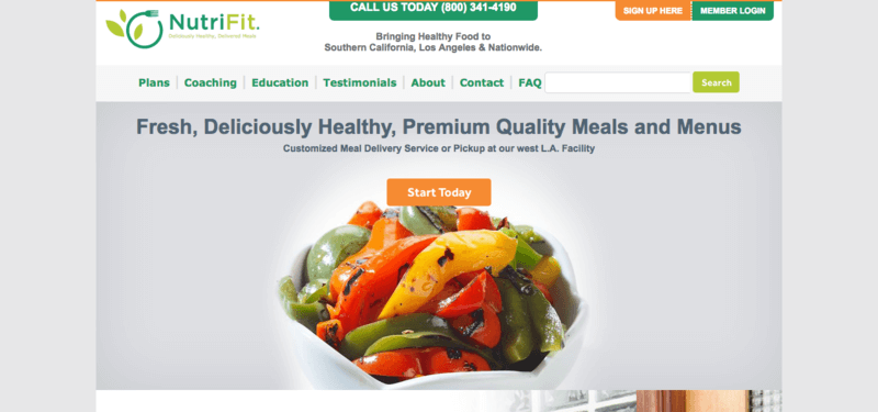 NutriFit meals website screenshot showing a bowl of mixed peppers.