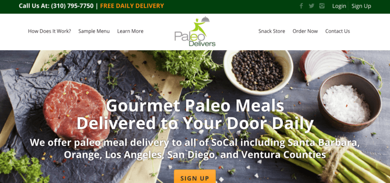 One Paleo Delivers (SoCal) Website Screenshot with beef, parsley, salt, epper, and asparagus pictured