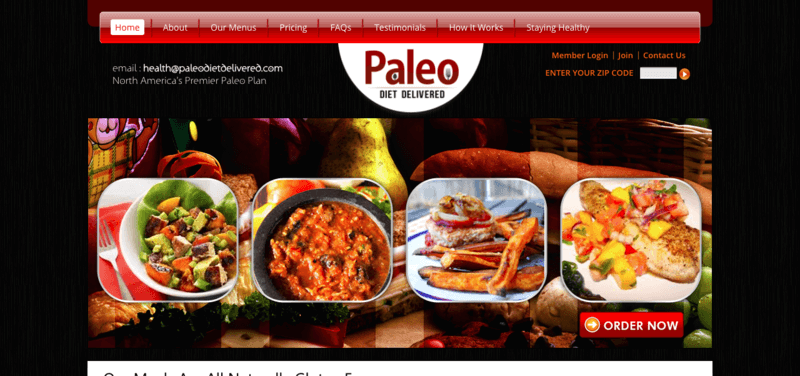 Paleo Diet Delivered website showing four meals