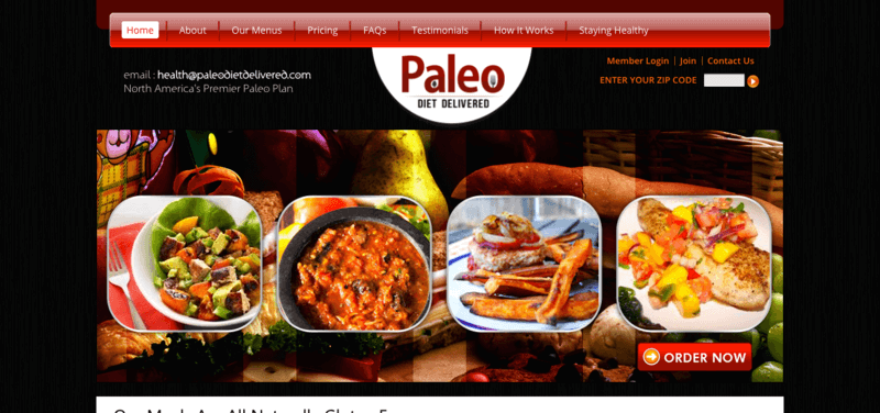 Paleo Diet Delivered Website Screenshot Showing Four Different Paleo Meals, Including a Salad and a Chicken Dish