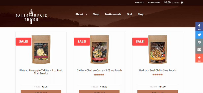 Paleo Meals to Go Website Screenshot Showing Pineapple Tidbits, Caldera Chicken Curry and Bedrock Beef Chili