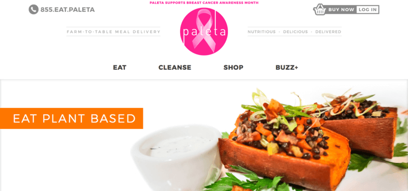 paleta meals website screenshot showing two plant-based meals with various ingredients