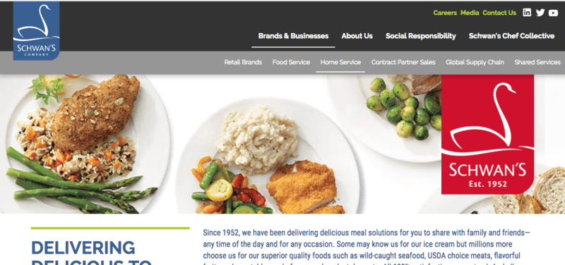 Schwann's website screenshot showing various meals including chicken with rice and asparagus