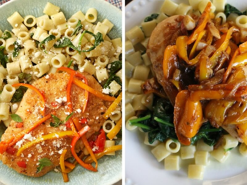 Sweet-Pepper-Chicken-with-Ditali-Pasta-Spinach
