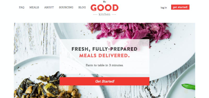The Good Kitchen website screenshot showing two meals, one containing red cabbage.