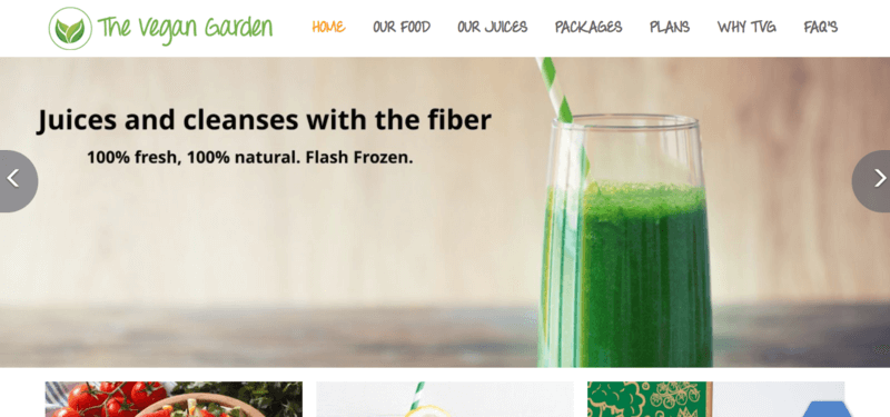 The Vegan Garden website screenshot showing a glass of green juice along with details about fiber