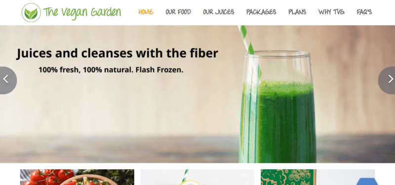 The Vegan Garden meals website screenshot showing a glass of green juice with details about the benefits of juices and fiber