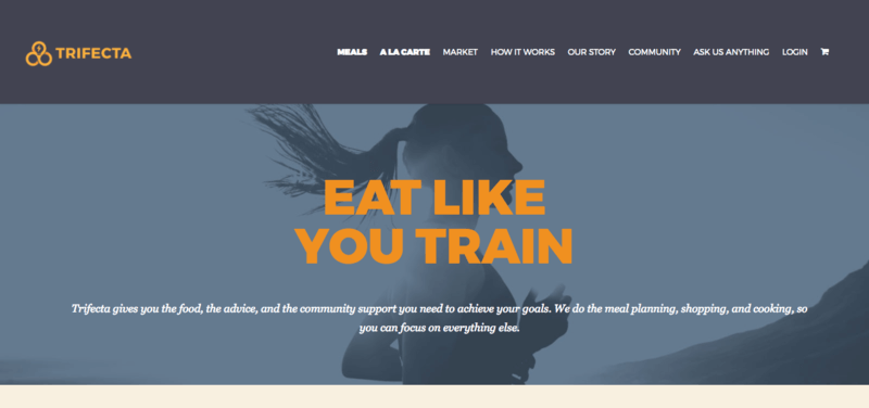 Trifecta website screenshot with picture of woman running and training