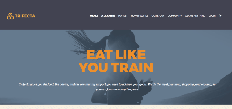 Trifecta website screenshot showing a woman running with the words 'Eat Like You Train'