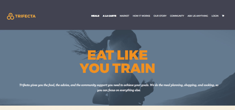Screenshot of Trifecta website showing a woman running with the phrase 'Eat Like You Train'