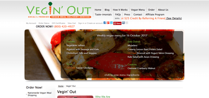 Vegin' Out Website Screenshot showing a dish of roast vegetables and the company's menu