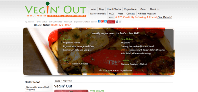 vegin out meals website screenshot showing roasted vegetables with the menu overlayed on top