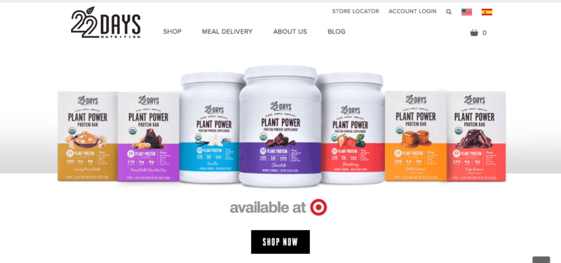 22 Days Nutrition Website screenshot showing their protein powders and meal replacement bars