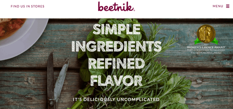 Beetnik website showing the tagline 'Simple Ingredients Refined Flavor' over old boards