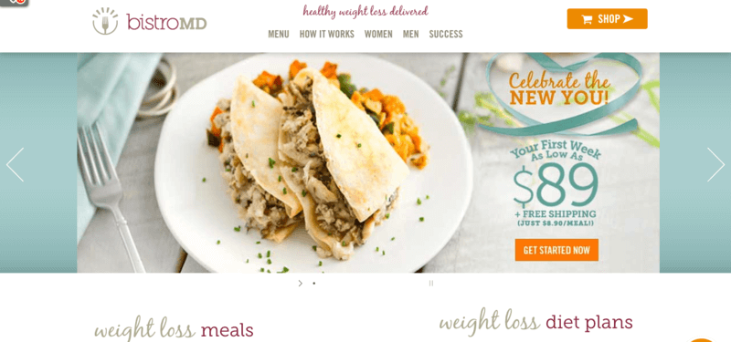 bistro MD website screenshot showing a plate of fish or chicken tacos on a table with a fork.