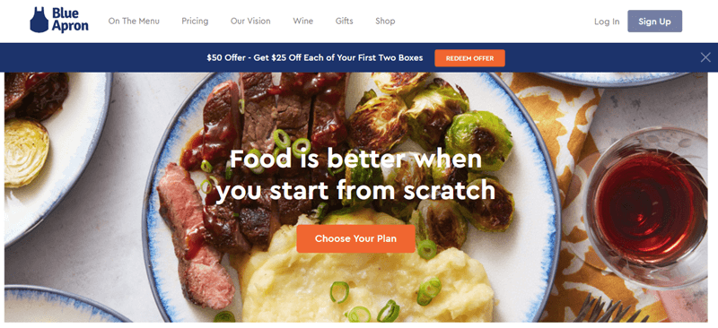 Blue Apron Website Screenshot showing a meal with potatoes, steak and Brussels sprouts