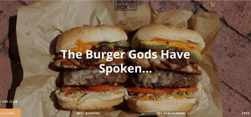 Burga Box website screenshot showing two large burgers with many fillings