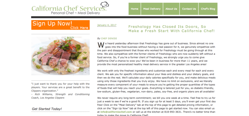 California Chef Services website screenshot, showing text about the company, along with an image of sliced steak and various sides.