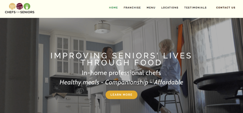 Screenshot from Chefs for Seniors featuring a chef in a kitchen and a senior on a bar stool