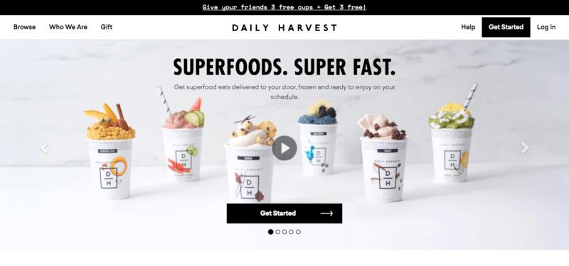daily harvest website screenshot