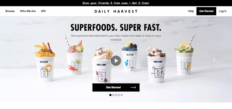 Daily Harvest Website screenshot showing six superfood cups with frozen ingredients.