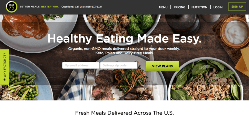 Factor 75 Website screenshot showing 5 meals that contain meat and veggies