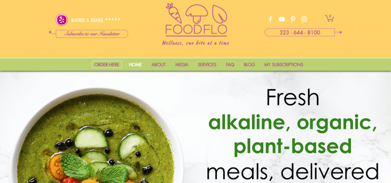 FoodFlo website screenshot showing a bowl of green soup and the menu structure