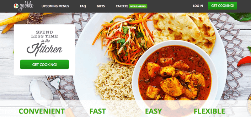 Gobble website screenshot showing a curry dish with rice, naan bread and a salad.