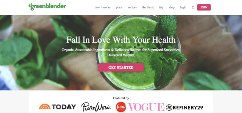 green blender website screenshot