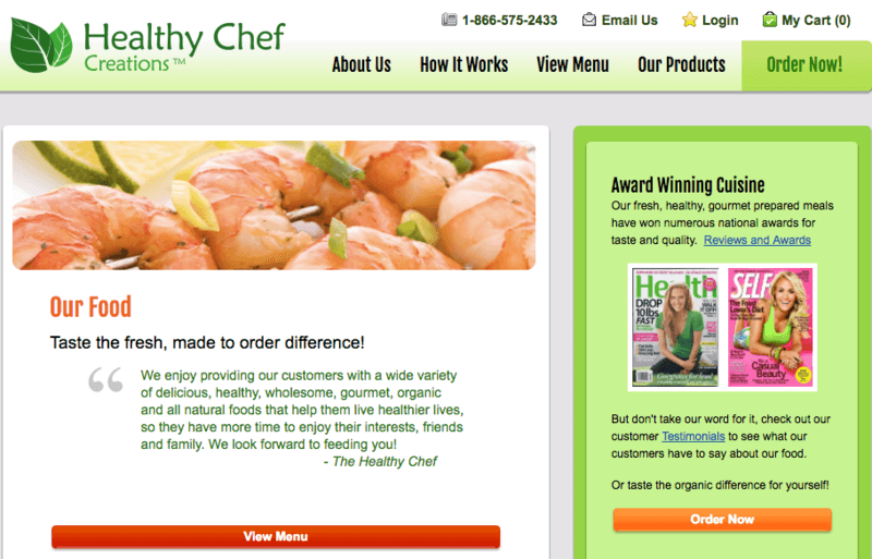 Website for Healthy Chef Creations showing prawns on a skewer, along with information about the company and what they offer.
