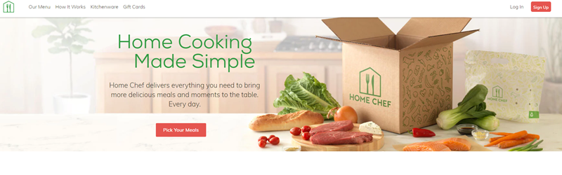 Home Chef website screenshot showing an open box on the counter along with various fresh meats and vegetables
