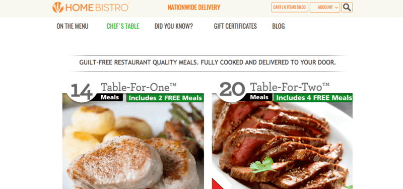 Home Bistro website screenshot showing pork and beef