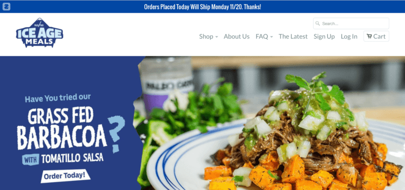 Ice Age Meals website screenshot showing their Grass Fed Barbacoa with Tomatillo Salsa