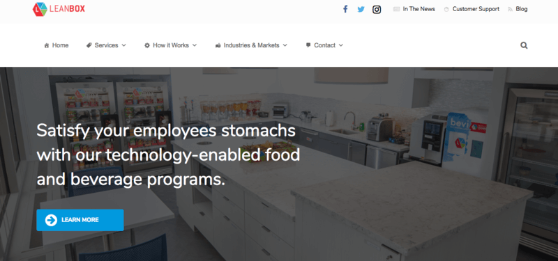 Lean Box website screenshot showing an office kitchen with various Lean Box displays