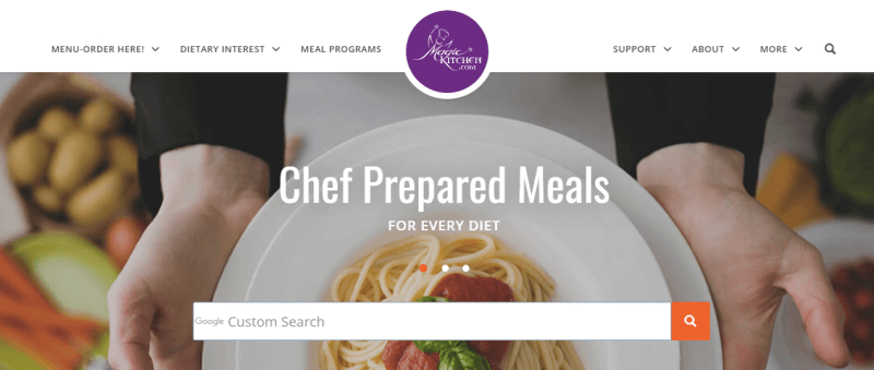 Magic Kitchen Website Screenshot showing a plate containing spaghetti and red sauce