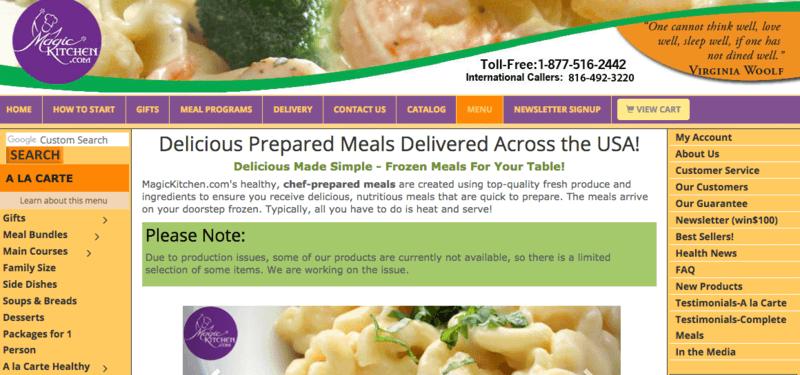 magic kitchen website screenshot