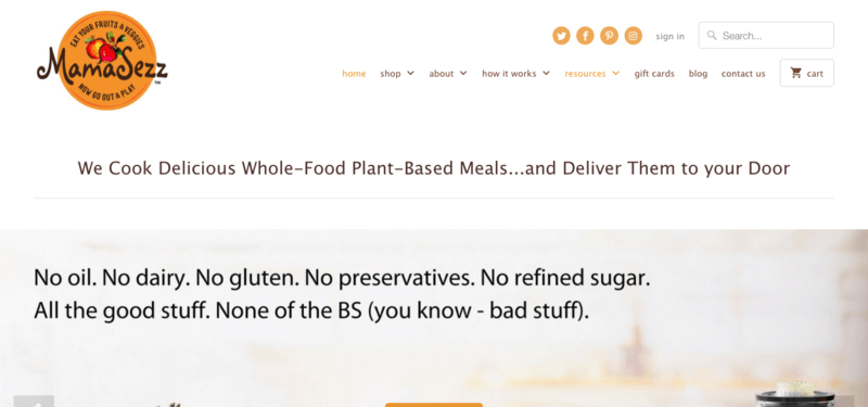 MamaSezz website screenshot showing the menus, along with claims about whole foods and plant-based meals