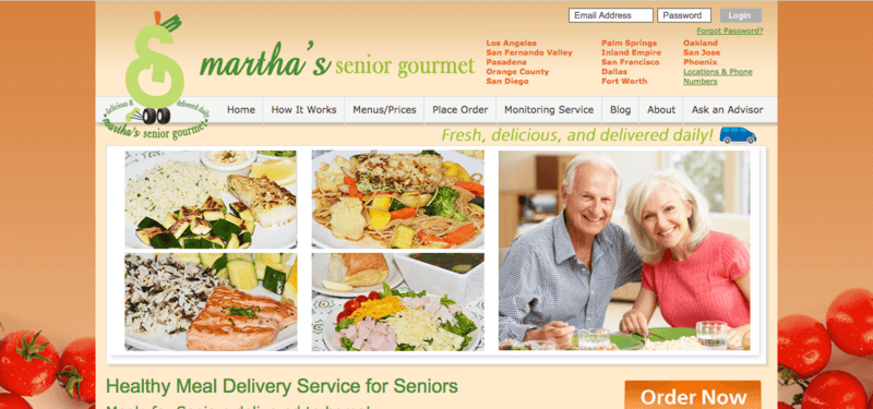 martha's senior gourmet website screenshot showing four different meals, along with a senior couple and various menus that viewers can select from.