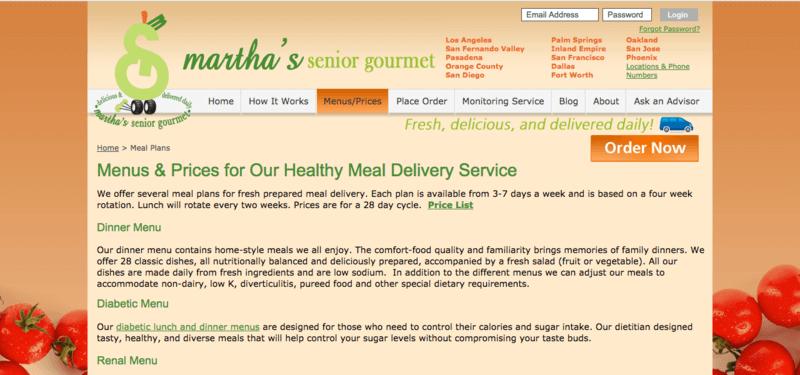 martha's senior gourmet website screenshot showing a description of various services.