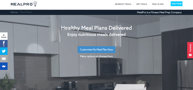 MealPro website screenshot showing a kitchen in gray and a link to customize meal plans.