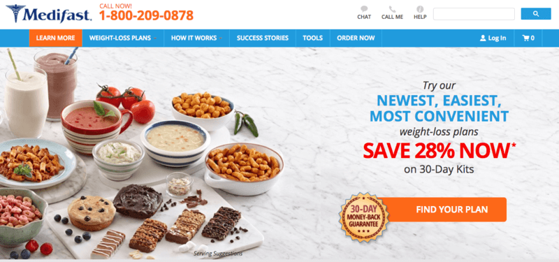 MediFast website screenshot showing a wide range of food from the company.