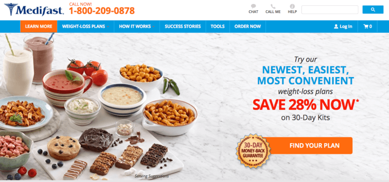 Medifast website screenshot showing various components, including shakes, bars, cookies and meals.